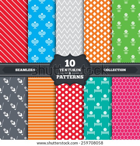 Seamless patterns and textures. Tennis rackets with ball. Basketball basket. Volleyball net with ball. Golf fireball sign. Sport icons. Endless backgrounds with circles, lines and geometric elements. - stock vector