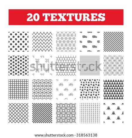Seamless patterns. Endless textures. Cargo truck and shipping icons. Shipping and eco bicycle delivery signs. Transport symbols. 24h service. Geometric tiles, rhombus. Vector - stock vector