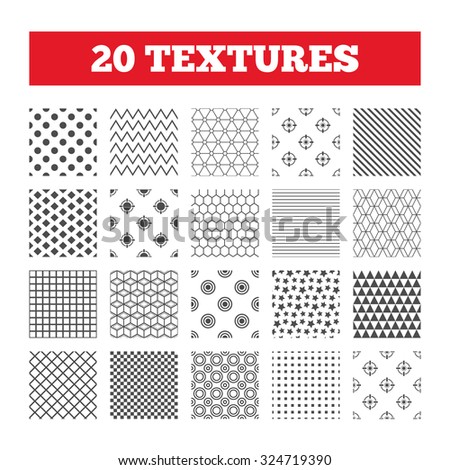 Seamless patterns. Endless textures. Crosshair icons. Target aim signs symbols. Weapon gun sights for shooting range. Geometric tiles, rhombus. Vector - stock vector