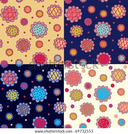 Seamless patterns floral bright  set - stock vector