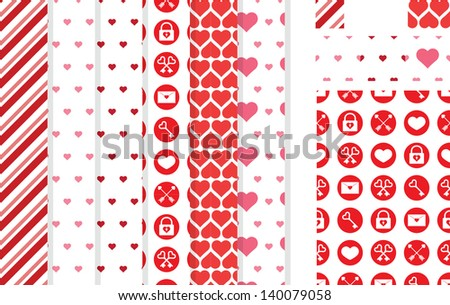 Seamless patterns for Valentine's Day, wedding invitations or decorations - stock vector