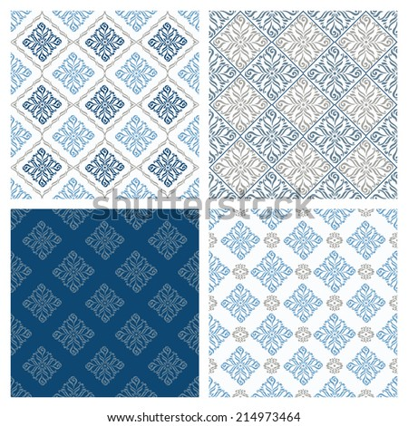 Seamless patterns in retro , tile, wallpaper - stock vector