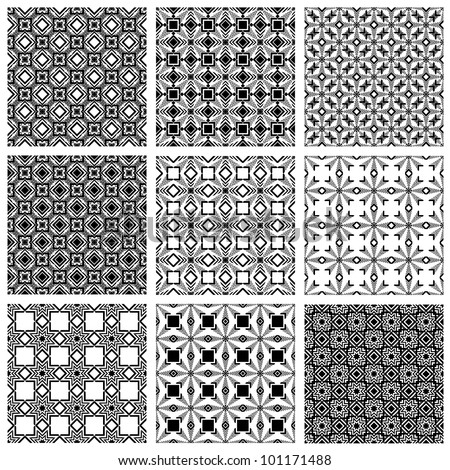 Seamless patterns, monochrome vector backgrounds collection.