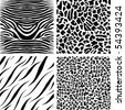 Seamless patterns of african animals (zebra, giraffe, tiger, leopard).  Color can be change by two key colors. - stock vector
