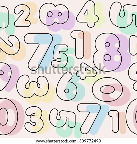 Seamless patterns of Flat line  digits on a pink background. Cover. eps8.