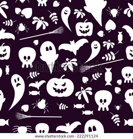 Seamless patterns of Halloween symbols. eamless background - stock vector