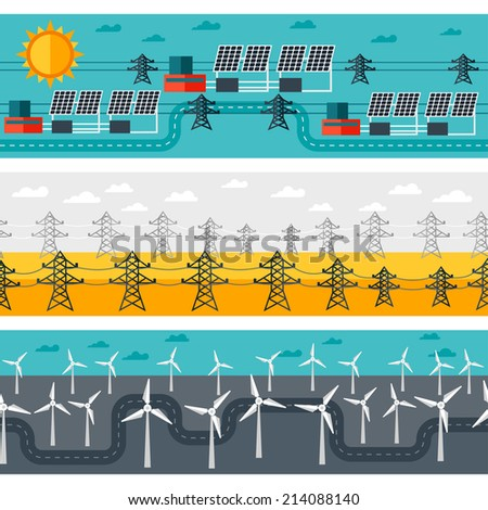 Seamless patterns of industrial power plants in flat style. - stock vector