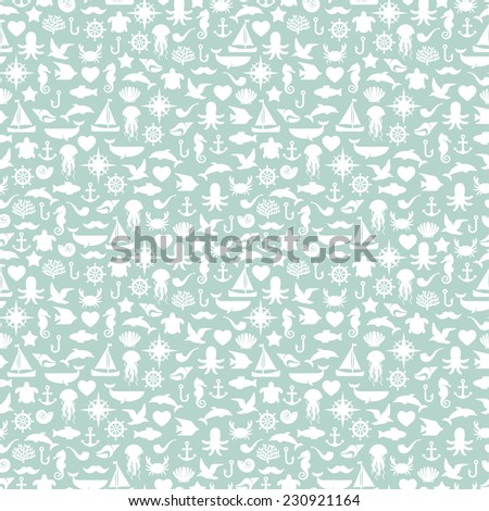 Seamless patterns of marine symbols. Vector illustration. Use to create quilting patches or seamless backgrounds for various craft projects. Turtle, dolphin, octopus, whale, seagulls. - stock vector