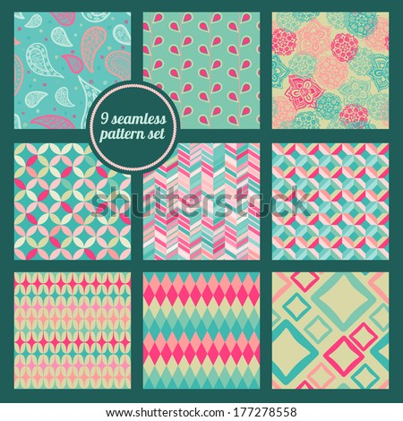 Seamless patterns 9pcs set. Retro abstract and floral background.