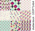 seamless patterns, polka dot set - stock photo