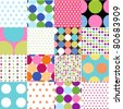 seamless patterns, polka dot set - stock vector