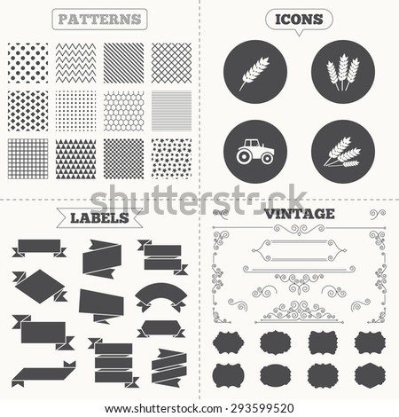 Seamless patterns. Sale tags labels. Agricultural icons. Wheat corn or Gluten free signs symbols. Tractor machinery. Vintage decoration. Vector - stock vector
