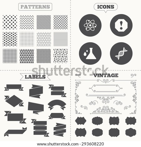 Seamless patterns. Sale tags labels. Attention and DNA icons. Chemistry flask sign. Atom symbol. Vintage decoration. Vector - stock vector