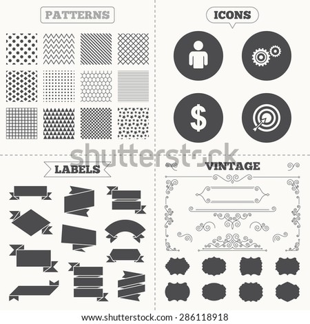 Seamless patterns. Sale tags labels. Business icons. Human silhouette and aim targer with arrow signs. Dollar currency and gear symbols. Vintage decoration. Vector - stock vector
