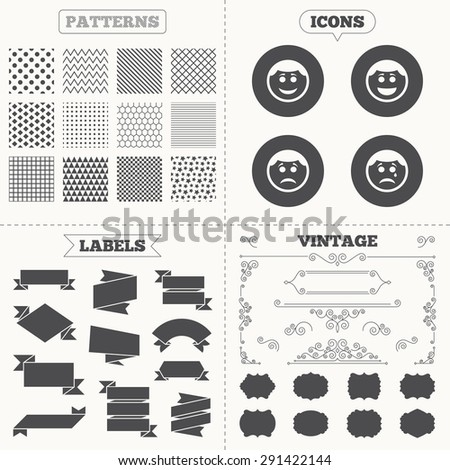 Seamless patterns. Sale tags labels. Circle smile face icons. Happy, sad, cry signs. Happy smiley chat symbol. Sadness depression and crying signs. Vintage decoration. Vector - stock vector