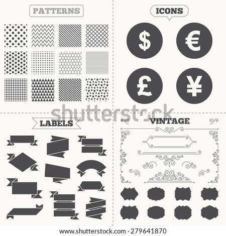 Seamless patterns. Sale tags labels. Dollar, Euro, Pound and Yen currency icons. USD, EUR, GBP and JPY money sign symbols. Vintage decoration. Vector - stock vector