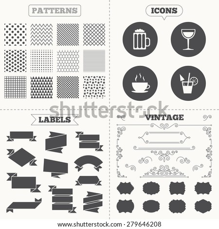 Seamless patterns. Sale tags labels. Drinks icons. Coffee cup and glass of beer symbols. Wine glass and cocktail signs. Vintage decoration. Vector - stock vector