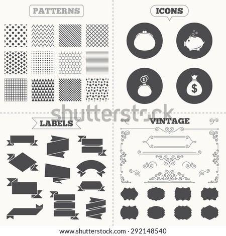 Seamless patterns. Sale tags labels. Happy Mothers's Day icons. Wallet with cash coin and piggy bank moneybox symbols. Dollar USD currency sign. Vintage decoration. Vector - stock vector