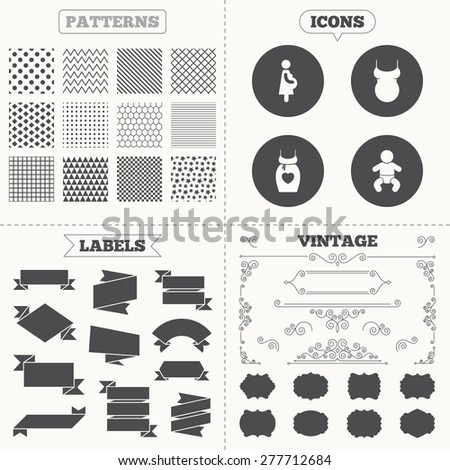 Seamless patterns. Sale tags labels. Maternity icons. Baby infant, pregnancy and shirt signs. Dress with heart symbol. Vintage decoration. Vector - stock vector
