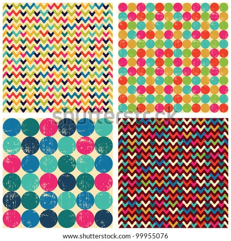 Seamless patterns set: balls, zigzags #2