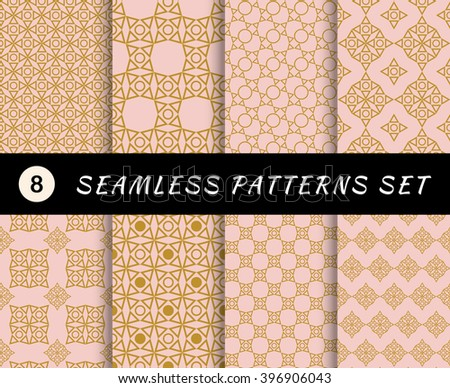 Seamless patterns set. Geometric textures and abstract backgrounds.