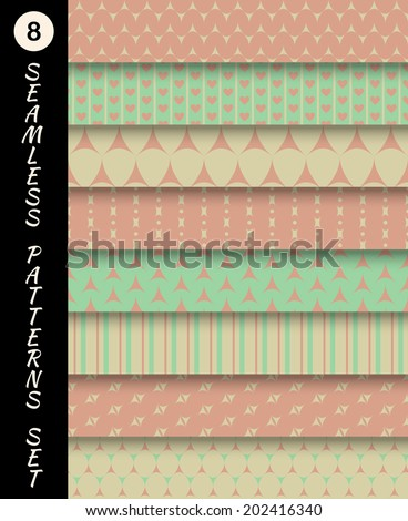 Seamless patterns set Geometric textures set Abstract backgrounds Endless texture Vintage collection retro wallpapers textile fabric elements scrap booking Vector illustration EPS 10