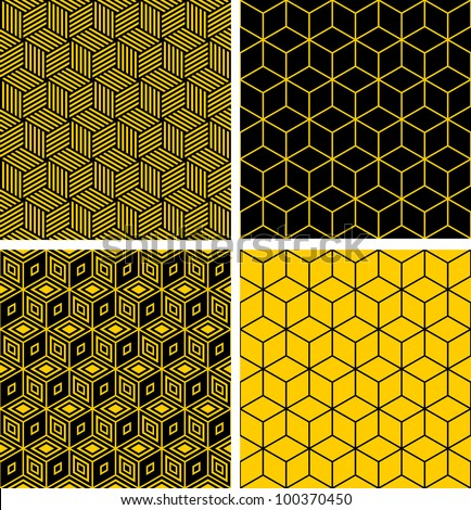 Seamless patterns set. Geometric textures with optical illusion effect. Vector art. - stock vector