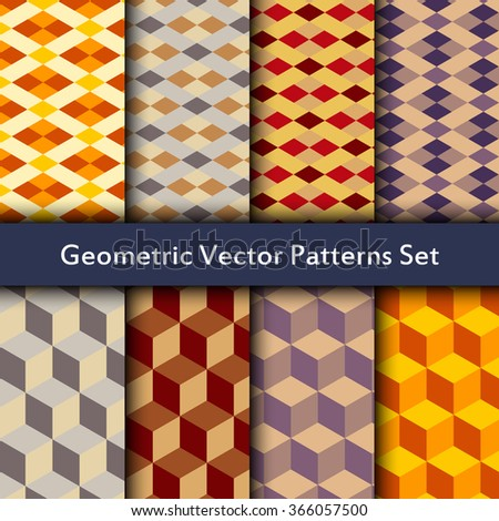 Seamless patterns set of diamonds, squares, triangles and cubes. Geometric colorful pattern with cold, pastel and warm colors.  - stock vector