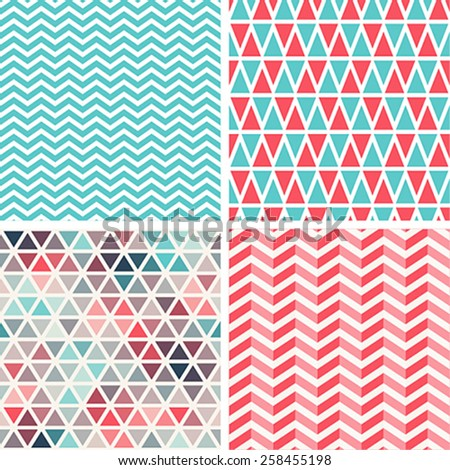 Seamless patterns set. Vector illustration. - stock vector