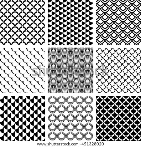 Seamless patterns set with fish scale motif. Vector art. - stock vector