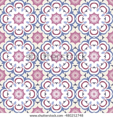 Seamless patterns, TILE, shades of blue, beige and pink. Classic  pattern with abstract circles, floral decorative design