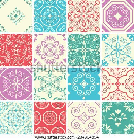 Seamless patterns with abstract ornament - stock vector