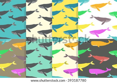 Seamless patterns with blue and sperm whales. Vector illustration. - stock vector