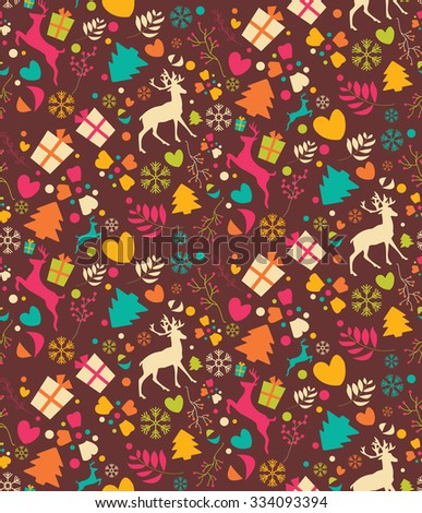 Seamless patterns with Christmas trees, reindeer, gift boxes and snowflakes, vector illustration - stock vector