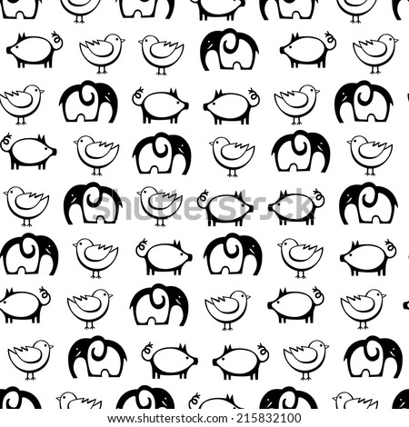 Seamless patterns with cute funny animals. Baby shower vector illustration. - stock vector