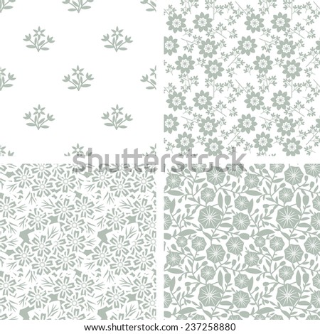 Seamless patterns with decorative floral ornament - stock vector