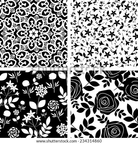 Seamless patterns with decorative flowers - stock vector