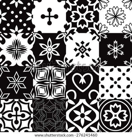Seamless patterns with decorative ornament - stock vector