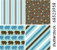 seamless patterns with fabric texture, baby boy patterns - stock vector