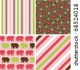 seamless patterns with fabric texture, baby girl patterns - stock vector