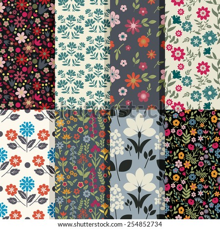 Seamless patterns with floral ornament - stock vector