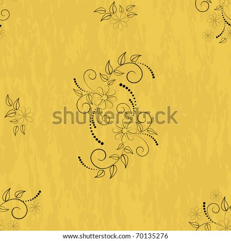Seamless patterns with flowers on grunge background. Vector.