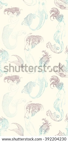 Seamless patterns with ink Sketches of mermaids. Hand drawn sketch of singing mermaid with moray eel. Vector illustration. Silhouette. - stock vector