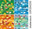 Seamless patterns with 4 seasons - vector illustration - stock vector