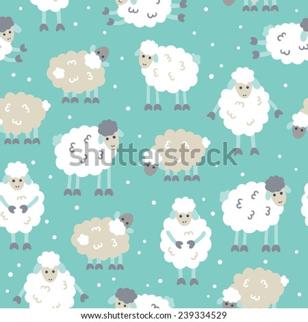 Seamless Patterns With Sheep Symbol Of 2015 Year Perfect For Wallpaper Wrapping Paper