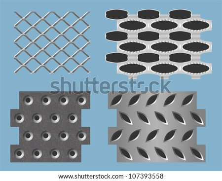 Seamless perforated metal patterns - stock vector