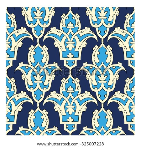 Seamless Persian pattern - blue - stock vector
