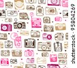 Seamless photo camera background pattern in vector - stock vector