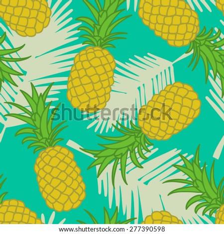 Seamless pineapple pattern.vector illustration. - stock vector