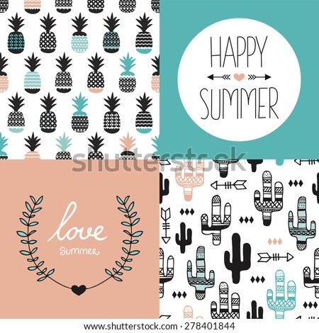 Seamless pineapples and cactus arrows illustration background pattern and summer love indian summer postcard cover design template in vector - stock vector